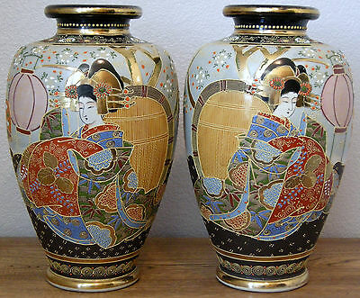 Pair Large Tall Satsuma Vases circa 1910  Japan