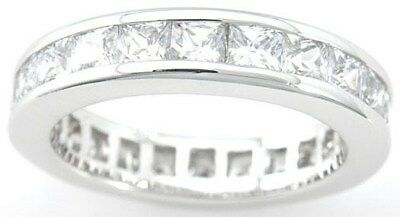 2.5 Ct .925 Sterling Silver Princess Cut Eternity Wedding Band Ring Sz 5 6 7 8 9