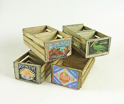 Dollhouse Miniature Vintage Weathered Fruit Crate, Large