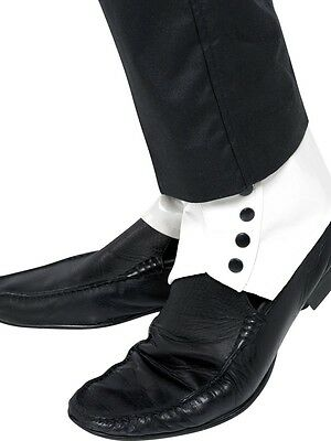 20s 30s Spats White Shoe Covers Gangster Pimp Mens Fancy Dress Murder Mystery