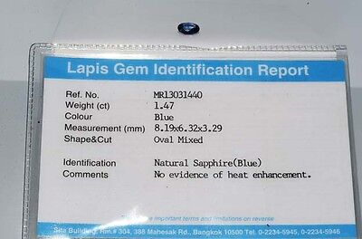 $1,900 1.47Ct Lapis Gem Certified Natural No Heat Loose Sapphire Gemstone