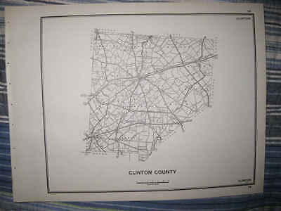 Superb Antique 1940 Clinton County Wilmington Ohio Map Highway Township Roads Nr