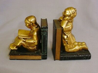 Signed Ronson Pair Gilt Bookends Old Vintage Chinese / Asian Children Lovely!