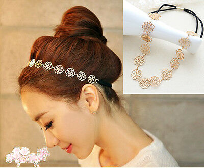 Fashion Elastic Lovely Metallic Lady Hollow Rose Flower Hair Band Headband J6P8
