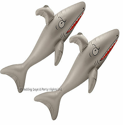 2 3ft Inflatable Blow Up Shark Australian Pirate Hawaiian Beach Party Decoration
