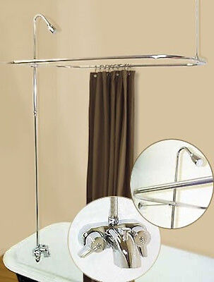 Add-A-Shower W/curtain Bar For Clawfoot Tub On Legs W/heavy Metal Faucet
