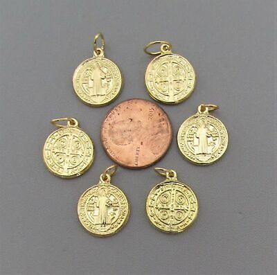 """Lot 6 Holy Medal Charms Italy ~ St. Saint BENEDICT 1/2"""" SMALL M110 finish GOLD"""