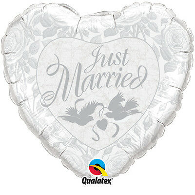 """18"""" Silver Just Married / Doves / Flowers Foil Heart Helium Wedding Balloon"""