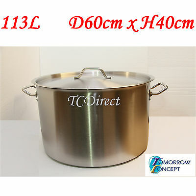 113L 60cm Commercial Stainless Steel Stock Pot Saucepan with Lid (D600xH400)