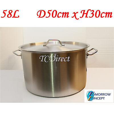 58L 50cm Commercial Stainless Steel Stock Pot Saucepan with Lid (D500xH300)