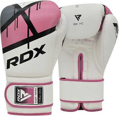 RDX Ladies Leather Gel Boxing Gloves Bag MMA Womens Kick Pads Mitts Muay Thai F7