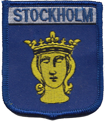 Sweden Stockholm City Coat of Arms Shield Embroidered Patch Badge