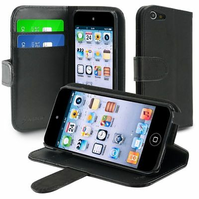 For iPod Touch 5 5th 6 5G Gen Leather Wallet Skin Cover Case w/Card Holder Black