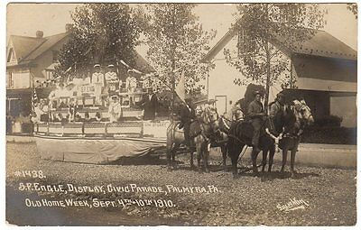 RPPC 1910 OLD HOME WEEK PALMYRA, PA PARADE FLOAT  #1438 S. F. ENGLE DISPLAY