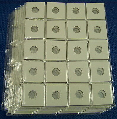 7 x 20 pocket pages + 140 x 2X2 Cardboard coin Holders Flips for Dimes (19mm)