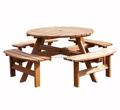 New 8 Seater Wooden Pub Bench Round Picnic Beer Table furniture Brown Garden