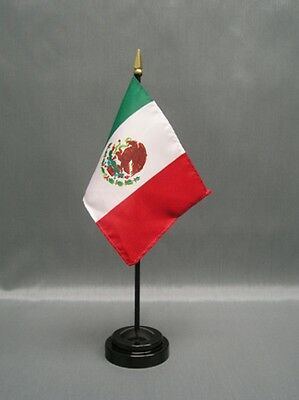 "Mexico 4X6"" Table Top Flag W/ Base New Desk Top Handheld Stick Flag"