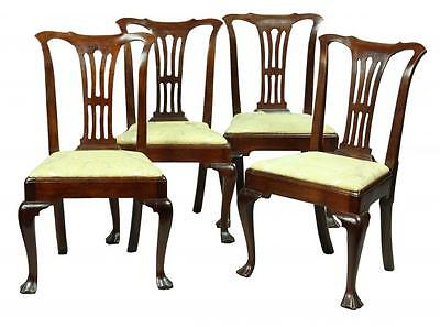 SWC-Set of 4 Elegant Mahogany Queen Anne Side Chairs with Open Splat, c.1750