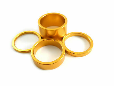 "Headset Spacer Set Anodised Aluminium 1-1/8"" x 35mm Gold Prestine PT67A"