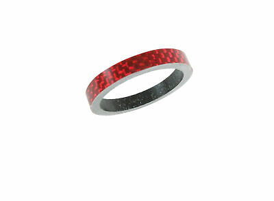 "Carbon Headset Spacer 5mm x 1-1/8"" Red x 35mm 3k Weave Gloss Dorcus"