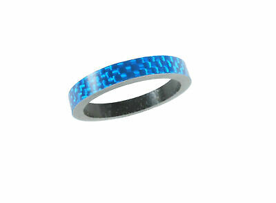 "Carbon Headset Spacer 5mm x 1-1/8"" Blue x 35mm 3k Weave Gloss Dorcus"