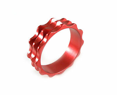 "Headset Spacer 1-1/8"" x 10mm Anodised Red Serrated Dorcus"