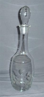 ETCHED ROSE LEAVES TALL CRYSTAL GLASS LIQUOR DECANTER VINTAGE RETRO BARWARE