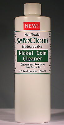New! SafeClean Coin Cleaner for Modern Nickel Coins. 12 fl. ounces. 355 ml.