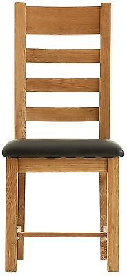 Oregon solid oak furniture set of two ladder back leather dining chairs