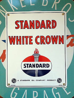 """classic STANDARD WHITE CROWN - PORCELAIN COATED SIGN - 12"""" BY 15"""", great quality"""