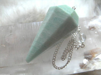100% Amazonite 'amazon /earth Warrior Stone' 8 Sided Facet Pendulum