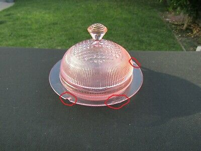 Rare Pink Homespun Butter Dish & Cover with 2 Chips