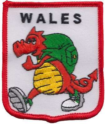 Wales Welsh Friendly Dragon Flag Embroidered Patch Badge