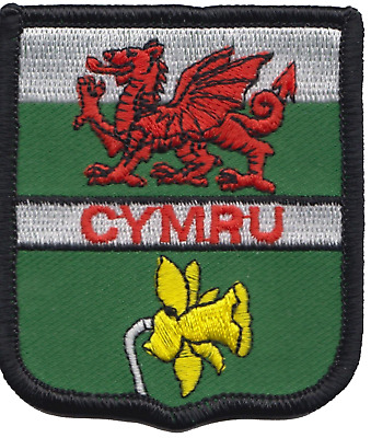 Wales Welsh Cymru Dragon and Daffodil Flag Embroidered Patch Badge