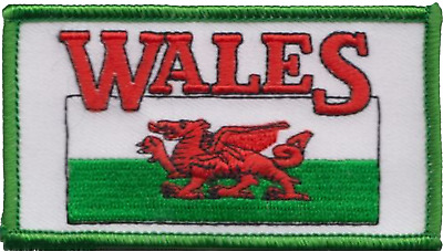 Wales Welsh Dragon Flag Rectangular Embroidered Patch Badge