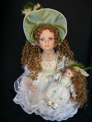 "Show Stoppers Porcelain Dolls JANE 22"" w/9"" Matching Doll NIB"