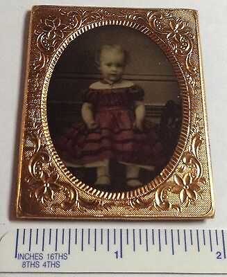 EARLY 1/9th AMBROTYPE PORTRAIT OF A CHILD ON RUBY RED GLASS HAND PAINTED #16a