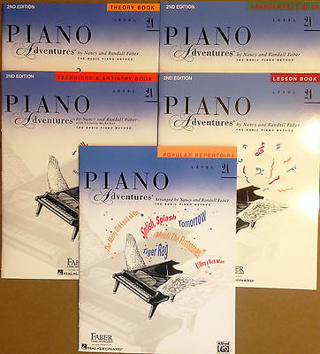 NEW FABER PIANO ADVENTURES LEVEL 2A- 5 BOOK PACK LESSON THEORY TECHNIQUE
