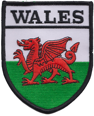 Wales Welsh Dragon Flag Large Shield Embroidered Patch Badge