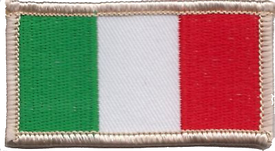 Italy Flag SMALL Rectangular Embroidered Patch Badge