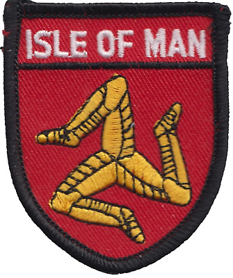 Isle of Man Shield Flag Embroidered Patch Badge