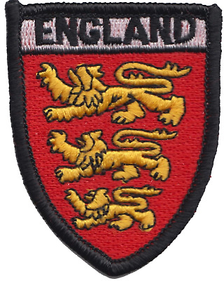 England 3 Three Lions Flag Shield Embroidered Patch Badge