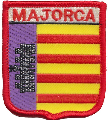 Spain Balearic Islands Majorca Mallorca Flag Shield Embroidered Patch Badge