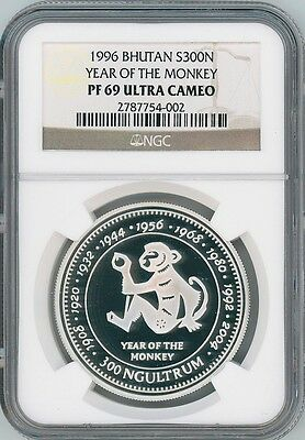 RARE 1996 Bhutan Year of the Monkey Silver Proof Coin NGC PF69