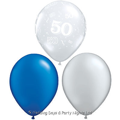 30 50th Birthday Party Helium Balloons Royal Blue Silver Decorations Age 50