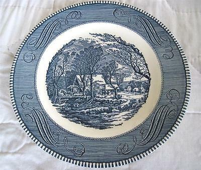 """Royal China Currier and Ives Blue Transfer Ware 10"""" Dinner Plate"""