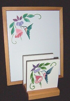 2 Pc Set Framed Tile Message Board & Letter / Napkin Holder Hummingbirds OOAK