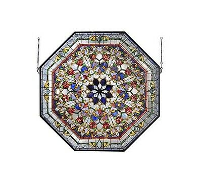 Meyda Tiffany Front Hall Floral Stained Glass Octagon Window Victorian Style