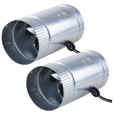 "2 Pack 4"" Inch Inline Duct Booster Cooling Fan Exhaust Blower Aluminum Blade US"