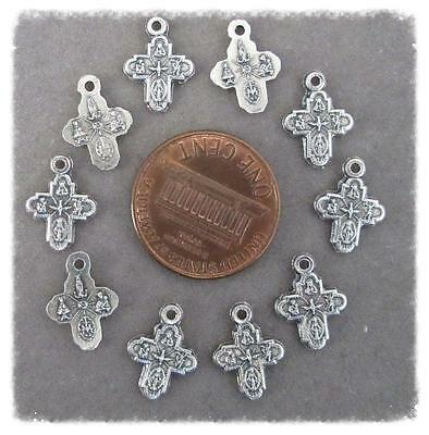 Lot 10  Four Way (4 Way) Holy Medal charm rosary bracelet M109 TINY finsh SILVER